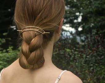 Large brass hair barrette rustic copper hair clip hammered hair slide big hair accessories minimalist up-do hair barrette for her