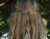 Hammered circle hair accessory brass hair clip minimalist hair barrette copper hair slide bridal hair accessories gold textured hair fork 4""