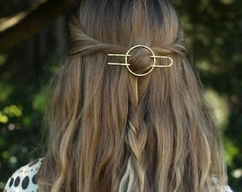 """Hammered circle hair accessory brass hair clip minimalist hair barrette copper hair slide bridal hair accessories gold textured hair fork 4"""""""