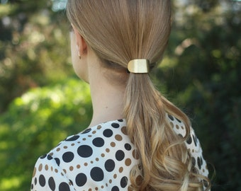 Brass pony tail tie boho chic hair jewelry copper hair tie cuff wholesale geometric hair accessories silver pony tail holder womens gift