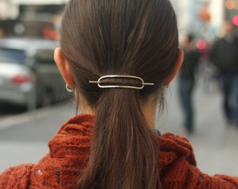 Bun holder hammered copper hair slide small silver hair barrette rustic hair clip simple stick modern minimalist hair accessories for her