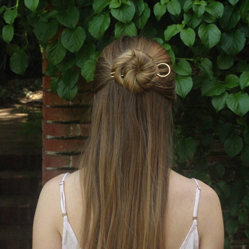 70bd6a2ee Circle hair pin minimalist bun holder hammered brass hair fork | Etsy