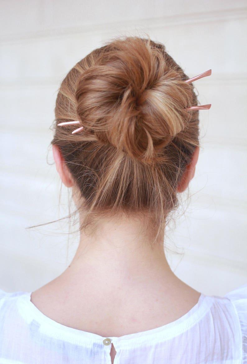 b6343f17f Brass hair sticks minimalist hair jewelry copper hair stick | Etsy