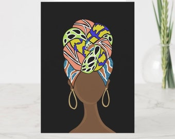 Colorful Headwrap goddess greeting card!