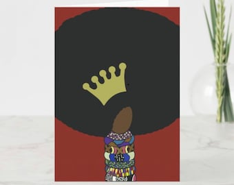 Queen of Afros greeting card