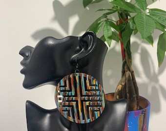 Wooden large multi-color earrings