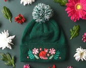 Red Panda Embroidered Beanie Tree-top Treasure // Green Wooly Winter Hat