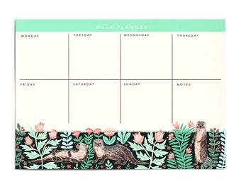 Large Floral Otter Weekly Planner Notepad