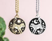 Fox Friendship Necklaces - Pair of matching Fox Enamel friendship Pendants
