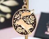 Enamel Fox Necklace, Gold Floral Fox Pendant