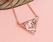 Enamel Red Panda Necklace, Rose Gold Floral Red Panda Triangle Pendant