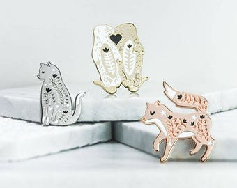 Gift set of three Enamel Pins, Cat, Fox & Otter Pin Badges