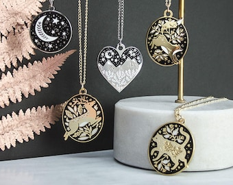 Gift Set of Necklaces // Enamel Fox, Mountains, Moon, Stag, Tiger & Cat Necklaces