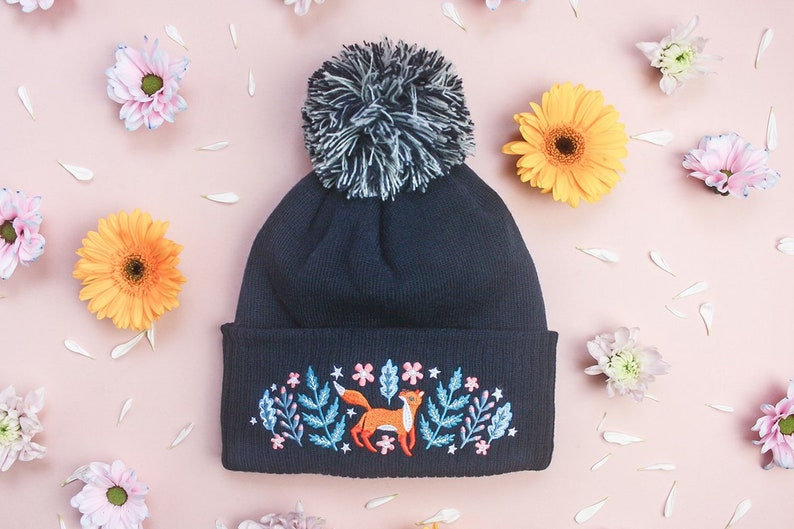 Woodland Wonder Fox Embroidered Beanie // Blue Foxy Wooly image 0