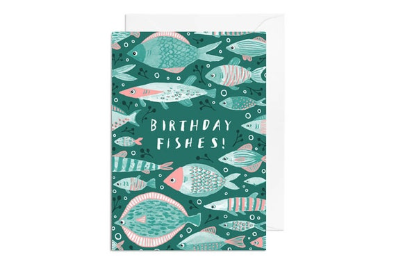 Greetings Card - Birthday Fishes, Happy Birthday Greetings Card