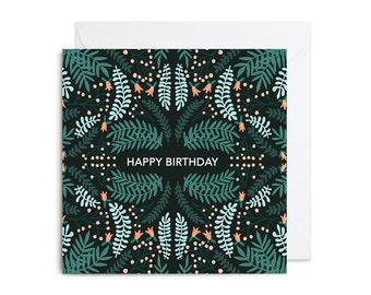 Greetings Card - Happy Birthday Woodland Floral Greetings Card