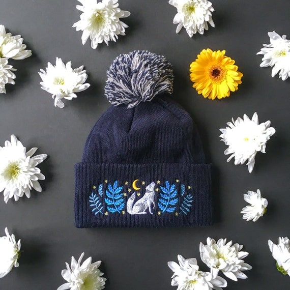 c61782c96827e Wolf Embroidered Beanie Celestial Call    Wolf   Moon Navy