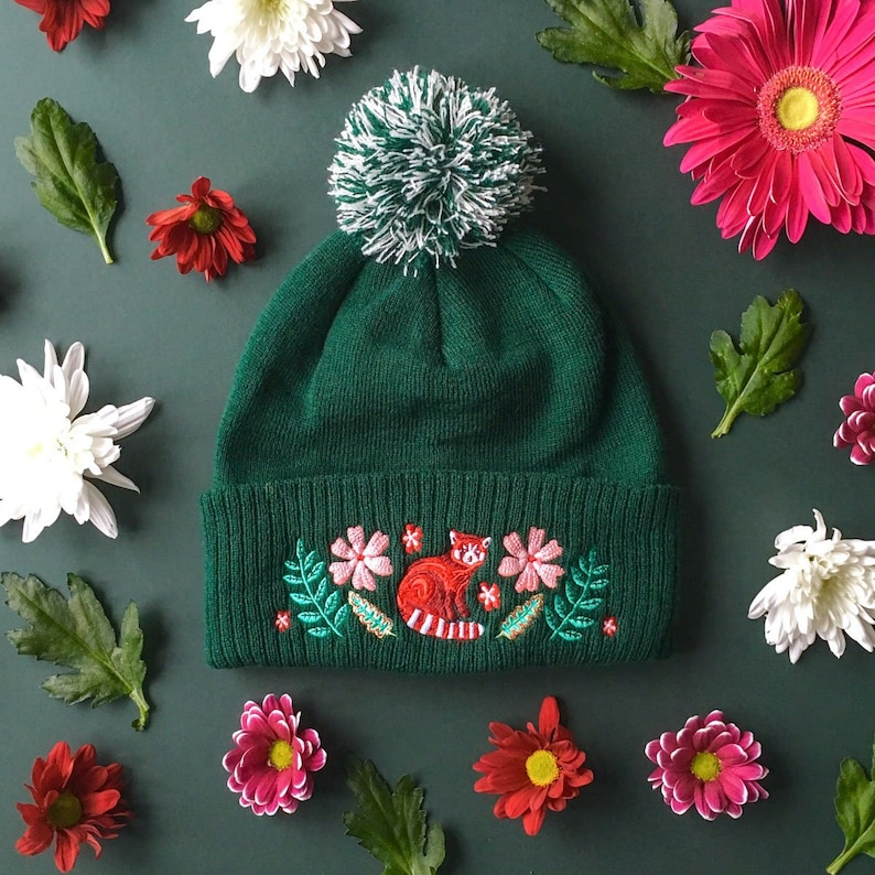 bf2bc710759a0 Red Panda Embroidered Beanie Tree-top Treasure    Green Wooly
