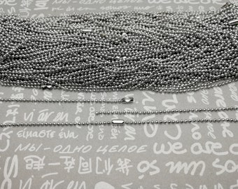 5 color option 100pcs 1.5mm diameter 24 inches length metal ball bead chain necklace with connector clasp jewelry making DIY finding AN41