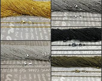 25pcs 1.5mm diameter 27 inches length metal ball bead chain necklace with connector clasp jewelry making DIY finding AN5 24 colors option