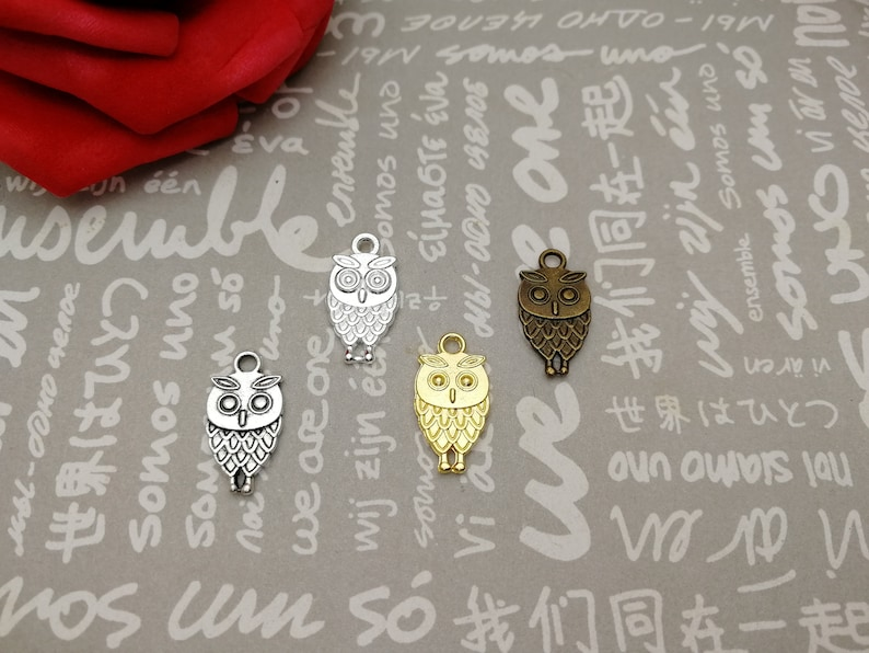 handmade jewelry making DIY finding earring necklace drop antique bronze silver gold color AM145 20pcs 18x9mm metal owl bird pendant charm
