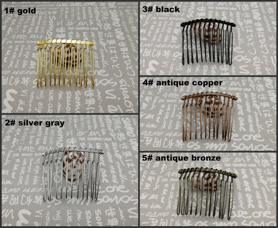 5 colors option headband hair head band barrette clip accessory hairband AH25 50pcs 48x40mm 12 teeth metal hair wire comb blank