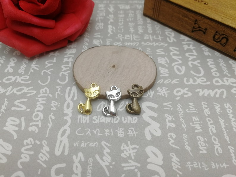 handmade jewelry making DIY finding earring necklace drop antique bronze silver gold color AM72 30pcs 17x10mm metal cat fox pendant charm