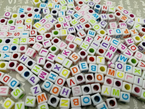 resin acrylic cube bead jewelry making finding AP9 300pcs 6mm plastic white color square cube bead multicolor Arabic numerals number bead
