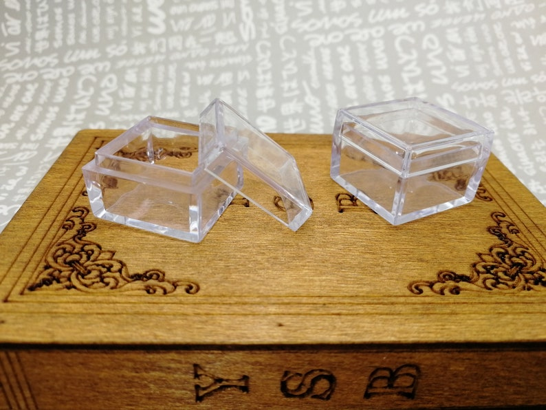 50pcs 25x25x18mm square shape clear plastic acrylic resin box jewelry bead ring earring tool wedding party gift display storage box AB52