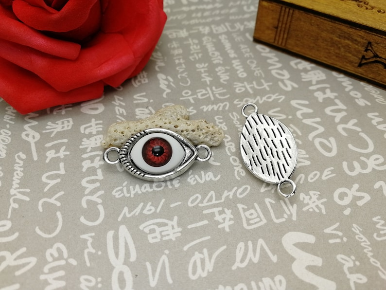AM323 earring necklace drop 7 colors choice 50pcs 28x14mm antique silver color metal eye pendant charm with multicolor plastic eyeball
