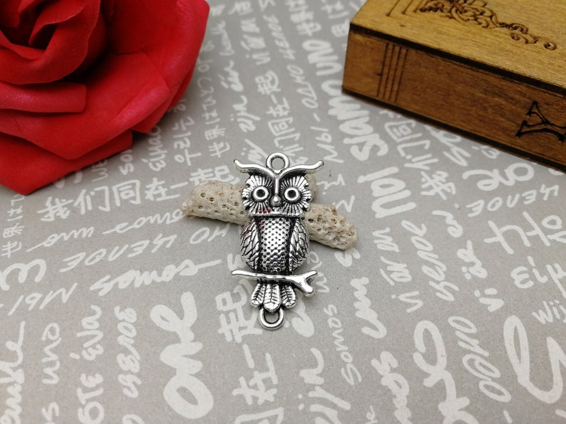 handmade jewelry making DIY finding earring necklace drop antique bronze silver color 10pcs 31x17mm metal owl bird pendant charm AM151
