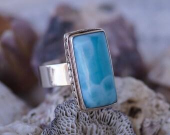 Rectangular Larimar Ring, Large Larimar ring, Blue stone ring, rectangular gemstone ring, Sterling silver Larimar ring, Natural Larimar