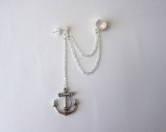 4 Sterling Silver Double cord Mariner Anchor Slider bracelet component Charm Leather  cord chain  Charm bead