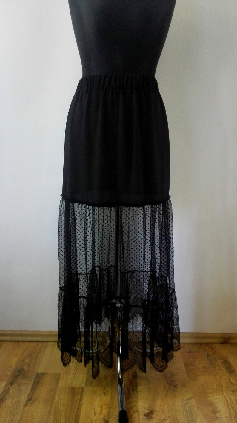 Black tiered skirt with polka dot tulle and lace trim Boho lace skirt Maxi skirt
