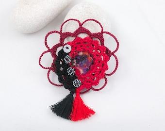 Textile brooch-Crochet lace brooch, Red-Black