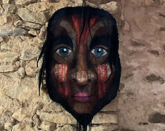 Wall decoration, felted wool head, african mask, textile decoration, hanging mask