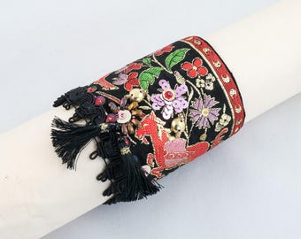 Cuff bracelet-ribbon-sequins-Fabric cuff beaded bracelet-Black-red