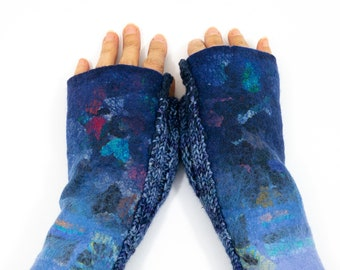 Mittens, warmers-Fingerless gloves-Felted warm mittens-mittens knitted in hand dyed yarn-blue