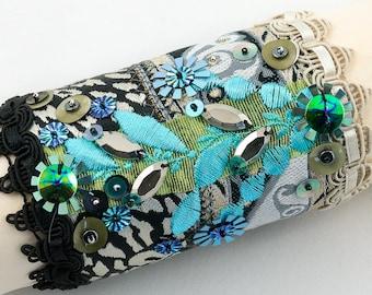 Cuff bracelet-ribbon-sequins-Fabric cuff beaded bracelet-Black-beige-turquoise