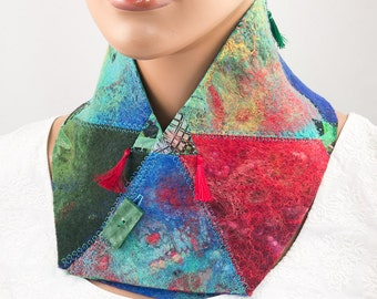Nuno felted collar-felted scarf-felted embroidered collar-patchwork-boho