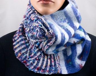 Hand knit and Felt Collar, Brioche stitch,Felt Neck Warmer Scarf, Wool Cowl, blue