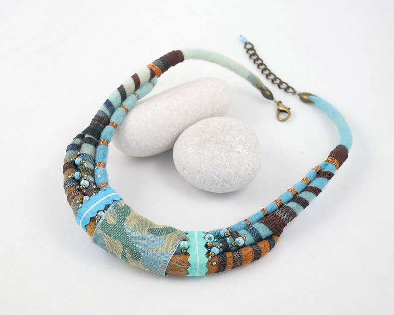 Necklace-Choker-Felted collar-ribbon-Turquoise-brown image 0