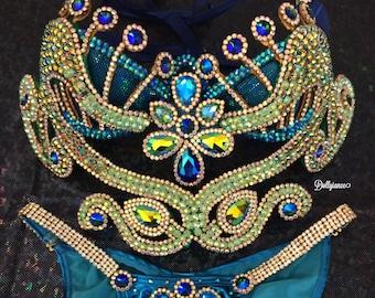 Peacock Inspired Samba Outfit, Samba Outfit, Carnival Outfit, Fitness Bikini, Sexy Peacock Costume, Samba Costume, Burlesque Costume