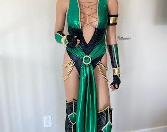 Deluxe Jade Mortal Kombat Costume, Cosplay Mortal Kombat Jade Costume, Mortal Komba Jade Mask
