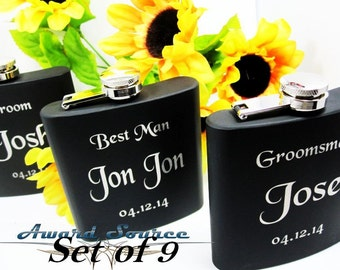 Set of 9 Wedding Gifts for Bridesmaid, Groomsmen, Bride, and Groom // Wedding Party Flasks for Men and Women // Father and Mother of Bride