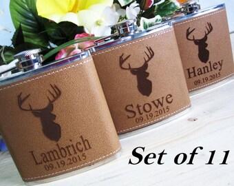 Set of 11 Deer Hunting Flask Set // Great Gift for Outdoorsmen // Deer Hunter Flasks Gift Set // Personalized Leather Flask / FREE ENGRAVING
