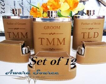 12 Groomsman Gift Flask Set with 3 Shot Glasses / 12 CUSTOM FLASK SET / 12 Groomsmen Gift Ideas / 12 Personalized Flasks / Best Man Gift