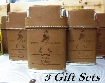 Set of 3 Personalized Leather Flasks with Attaching Lid & 3 Shot Glasses // Best Groomsmen Gift Ideas // Wedding Party Flasks for Men
