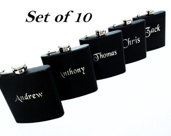 Set of 10 Personalized Black Flasks // Great Gift for Wedding Party Favors // Flasks for Men and Women //Great Groomsmen and Bridesmaid Gift