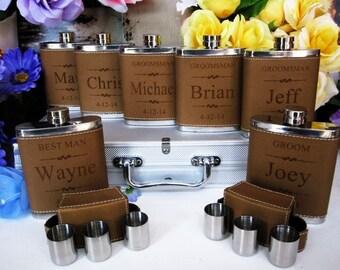 Groomsmen Flask Set,  2 Groomsman Gift Flask Set with 3 Shot Glasses